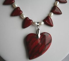 Red Czech Hearts and Freshwater Pearl with Jasper Heart Pendant | 123gemstones - Jewelry on ArtFire