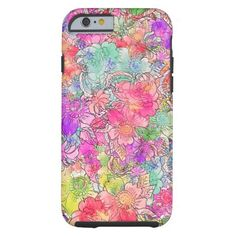 Bright Pink Red Watercolor Floral Drawing Sketch Tough iPhone 6 Case  | Visit the Zazzle Site for More: http://www.zazzle.com/?rf=238228028496470081 [Referral Link]