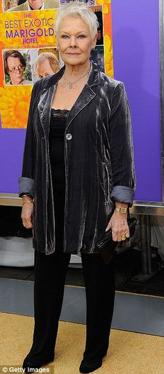 Judi Dench is amazing! Such pride in her stance. Love the gunmetal velvet jacket, so elegant!