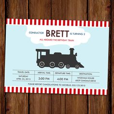Choo Choo Train Birthday Invitation - Locomotive. $15.00, via Etsy.