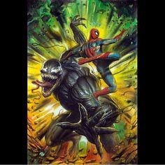 Venom V Spidey!! Art by Adi Granov  #SpiderMan #Venom #Symbiote #Marvel #MarvelComics #Comics #ConceptArt #Art #Artist #Superhero #Villain
