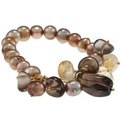 M by Miadora Goldtone Brown FW Pearl and Multi-colo Quartz Stretch Bracelet
