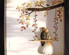Pebble Art Wedding Gift- Unique Wedding Gift- Personalized COUPLE Gift- Wedding Gift- Engagement Gift- Pebble Art