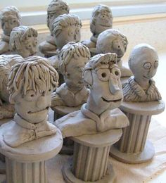 Clay Portrait Busts on Extruded Bases- Did this during student teaching with Robert Arneson Art History connection