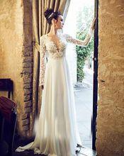 Elegante playa vestido de novia sin espalda 2016 nuevo bajo pecho de manga larga apliques de encaje nupcial casarse con vestidos de fiesta vestidos(China (Mainland))