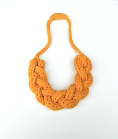 Statement Jewelry Necklace - Upcycled T Shirt Yarn Braided - Yellow.