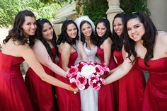 Wedding, Red, Bridesmaids - Photo by Jennifer Skog