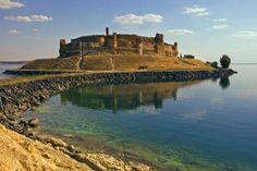 The citadel Qala'at Ja'abar towering above Lake al-Assad in central Syria.