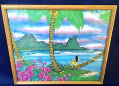 BRETT KEAST Tropical Island Woman Signed Numbered LTD Print Framed Surf Orchids