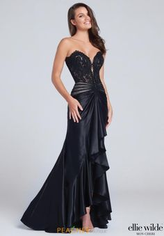LOVE Prom Dresses Prom Dresses 2017 - Ellie Wilde for Mon Cheri - strapless black prom dress with lace bodice and cascading ruffle skirt - Style No. Black Wedding Dresses, Elegant Dresses, Pretty Dresses, Formal Dresses, Designer Evening Gowns, Designer Prom Dresses, Evening Dresses, Prom Dresses 2017, Dresses For Teens