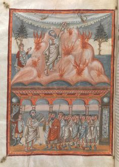 Moses receives the Law from the hand of God Exodus Carolingian Moutier-Grandval Bible Book Of Exodus, Library Themes, St Jerome, The Creation Of Adam, Carolingian, Old And New Testament, Adam And Eve, Medieval Art, British Library