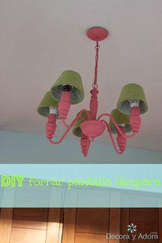 decora y adora: diy forrar pantalla lámpara