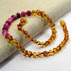 Girls and Boys Amber necklace / Baby amber by BalticAmberCity