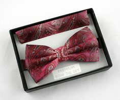 New Red & Pink Paisley Bow Tie + Hanky Hankie Tuxedo Wedding Fashion Bowtie Set #VenettoCollection #BowTie