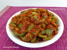 Podi Capsicum Curry. Side dish made with capsicum/ bellpepper and assorted spices.