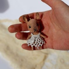 Tiny crochet beige bunny with blue crochet dress от LozArts