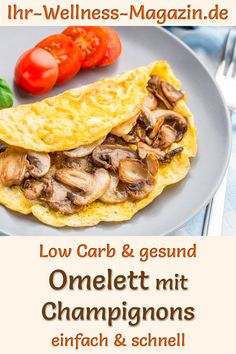 Easter brunch or breakfast: omelet with mushrooms – healthy low-carb recipe - Gesundes Healthy Low Carb Recipes, Healthy Recipes For Weight Loss, Healthy Eating Recipes, Healthy Nutrition, Healthy Snacks, Weight Loss Meals, Losing Weight, Easter Recipes, Egg Dish