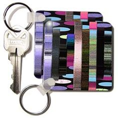 Pink, purple and black rectangles on egg shaped textured layers Key Chain