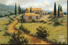 Italian Cypress Stretched Canvas Print by Roger Williams at Art.com