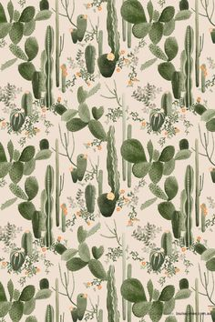 You can style green into a room with wallpaper, like this funky cactus print. It adds a natural vibe as well as a sense of fun. Illustration Cactus, Illustration Botanique, Pattern Illustration, Deco Floral, Motif Floral, Surface Pattern Design, Pattern Art, Pattern Designs, Textile Patterns