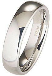 6mm White Tungsten Carbide Polished Classic Wedding Ring