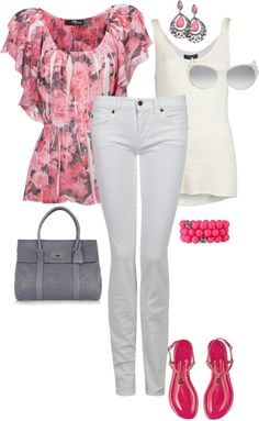 """""""Pink and Gray Spring Floral"""" by pamnken on Polyvore"""