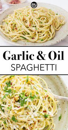 Easy Pasta Recipes, Spaghetti Recipes, Easy Meals, White Spaghetti Recipe, Good Easy Dinner Recipes, Easy Dinner For Two, Easy Italian Recipes, Angel Hair Pasta Recipes, Italian Dinners