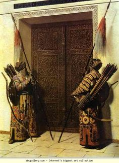 Turkic warriors guarding the Doors of Tamerlane. Tamerlane, anglicized form of Timur-i-Lang ('Lame Timur' or 'Timur the Lame') (1336-1404), was a Turkic conqueror, born in Kash near Samarkand. He waged several devastating wars, conquering Persia (1392-96) and northern India (1398), and defeating the Ottomans and the Mamlukes (1402)