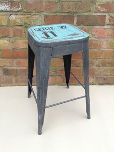 Industrial Bar Stool shabby vintage chic kitchen side table seat blue SERI in Home, Furniture & DIY, Furniture, Stools & Breakfast Bars | eBay
