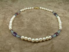 White Pearl Necklace with Semiprecious Stones Κολιέ by AkoyaPearls, €88.00