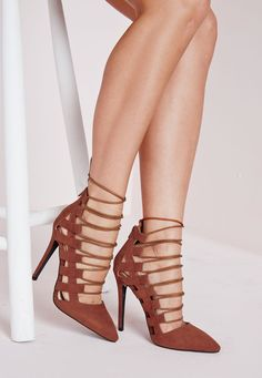 Pointed Toe Lace Up Heels Tan - Shoes - High Heels - Missguided Tan Shoes, Shoe Boots, Pictures Of High Heels, Beautiful Shoes, Beautiful Legs, Lace Up Heels, Court Shoes, Stiletto Heels, Fashion Shoes