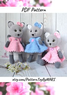 PATTERN - Crochet cat in a dress, tutorials cat pdf, amigurumi toys, knitted soft toy Kitty, amigurumi animal pattern Crochet Toys Patterns, Amigurumi Patterns, Crochet Stitches, Crochet Ideas, Sewing Patterns, Crochet Mouse, Cat Crochet, Crochet Animals, Crochet Dolls