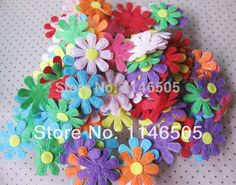 200PCS Mixed Color Flower 28mm Felt Appliques for DIY Sewing Supplies Craft Accessories Sewing