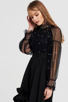 Molly Pearl Mesh Blouse Discover the latest fashion trends online at storets.com #fashion #pearls #meshblouse #blouses #storetsonme