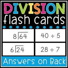 <p><strong>Printable Division Flashcard</strong>s - Learning math facts is easy with this et of printable division flashcards! These flash cards include all math facts from 0-12 and have the option of being printed double-sided with the answers on the back. Plus, these cards come in two different versions - horizontal or vertical!</p><p></p><p><strong>These flashcards work perfectly for:</strong></p><p> Math centers</p><p> Guided math</p><p> Flashcard Games and Activities</p><p> Home… Division Flash Cards, Math Flash Cards, Student Planner Printable, Teacher Planner, Flashcard Games, Touch Math, Student Binders, Get To Know You Activities, Addition And Subtraction Worksheets