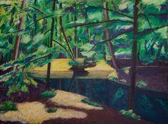 """Saatchi Art Artist Anthony van Gelder; Painting, """"Forest pond"""" #art"""