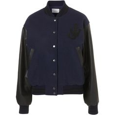 **Varsity Jacket by J.W. Anderson for Topshop ($130) ❤ liked on Polyvore featuring outerwear, jackets, coats & jackets, navy blue, outewear, navy varsity jacket, blue jackets, navy jacket, varsity jacket and navy wool jacket