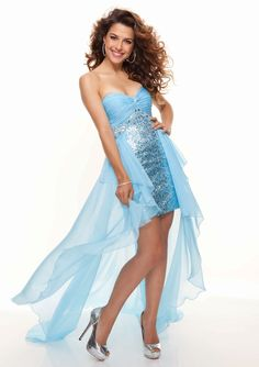 Delicate High-low Sequined Sweetheart Prom Dress