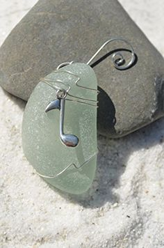 Aqua Sea Glass Ornament with a Silver Musical Note Charm