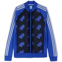 Adidas Originals Zip Sweatshirt ($51) ❤ liked on Polyvore featuring mens, men's clothing and bright blue