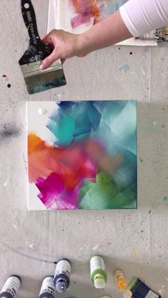 Acrylic Painting Techniques, Acrylic Painting Canvas, Colorful Paintings Abstract, Drawing On Canvas, Abstract Painting Easy, Acrylic Painting Flowers, Acrylic Artwork, Diy Artwork, Simple Acrylic Paintings