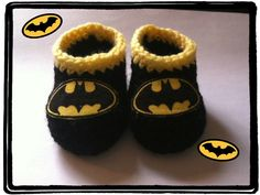 Made to Order Batman Booties Handmade Crochet Newborn to 3 months, 3 to 6 months