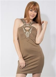 Tan Beaded Dress with Cut Out $7.50 per unit