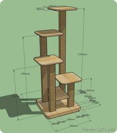 Cats Toys Ideas - 6 Ways To Add More Cat-Friendly Vertical Space To Your Home - Ideal toys for small cats Diy Cat Tower, Cat Play Tower, Cat Tree Plans, Cat House Plans, Ideal Toys, Cat Stands, Cat Playground, Cat Scratching Post, Cat Room