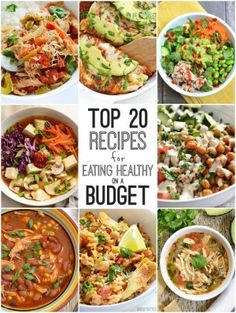 Top 20 Recipes for Eating Healthy on a Budget is part of Healthy budget - A convenient compilation of the top 20 recipes for eating healthy on a budget from Budgetbytes com Meat and Vegetarian recipes included! Eat On A Budget, Dinner On A Budget, Cooking On A Budget, Eating Healthy On A Budget For One, Dinner Menu, Budget Clean Eating, College Cooking, Healthy Meal Planning, How To Eat Healthy