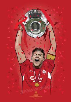 Kieran Carroll Design — Steven Gerrard lifting the Champions league trophy. Liverpool Poster, Anfield Liverpool, Liverpool Fc Wallpaper, Liverpool Wallpapers, Liverpool Tattoo, Liverpool Champions League, Liverpool Players, Liverpool Football Club, World Cup