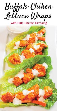 Buffalo Chicken Lettuce Wraps with Blue Cheese Dressing by Plating Pixels. Rich and tangy buffalo chicken sauce with blue cheese dressing in a lettuce wrap make a perfect quick party appetizer. #BackYourSnack #ad @Walmart www.platingpixels.com