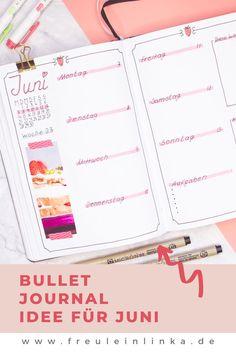 Du suchst noch ein Thema für dein Bullet Journal. Wie wäre es mit Erdbeeren. Ich zeige Dir mein Juni Setup mit den süßen Früchten auf meinem Blog freuleinlink.de Zebra Mildliner, Bujo Weekly Spread, Juni, Blog, Bullet Journal Ideas, Strawberries, Make Your Own, Blogging