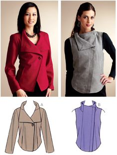 Kwik Sew 3827 from Kwik Sew patterns is a Angled Front Jacket & Vest sewing pattern