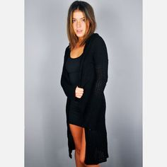 Hooded Long Sweater Black now featured on Fab.